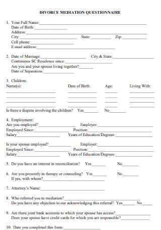 Divorce Mediation Questionnaire