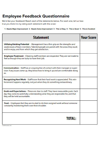 Employee Feedback Questionnaire