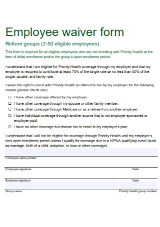 Employee Waiver Form