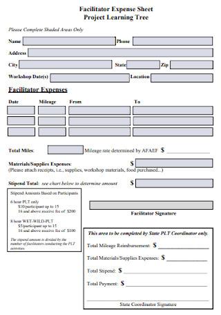 Facilitator Expense Sheet