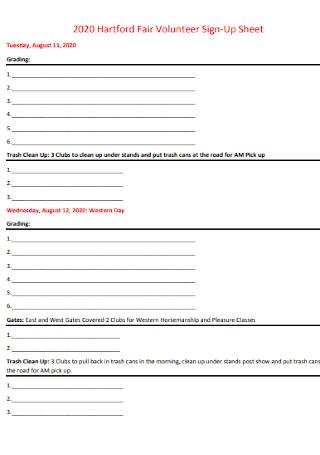 Fair Volunteer Sign Up Sheet