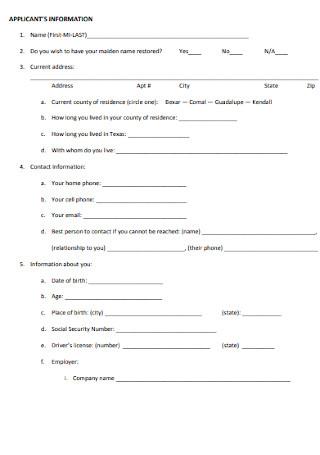 Family Divorce Questionnaire