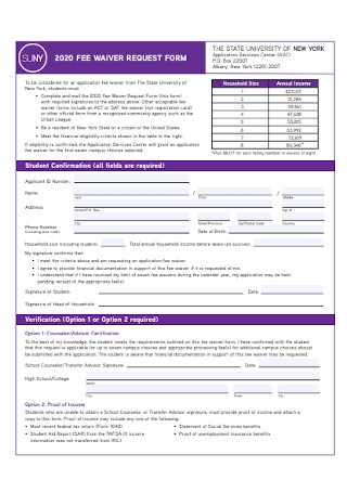 Fee Waiver Request Form
