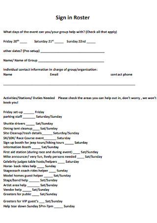 Festival Volunteer Sign up Sheet