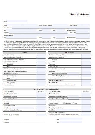 Financial Statement Format