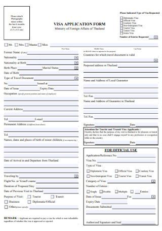 Foreign Visa Appliication Form