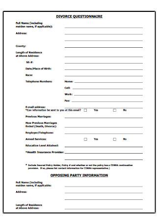 Formal Divorce Questionnaire Template