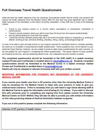 Full Overseas Travel Health Questionnaire