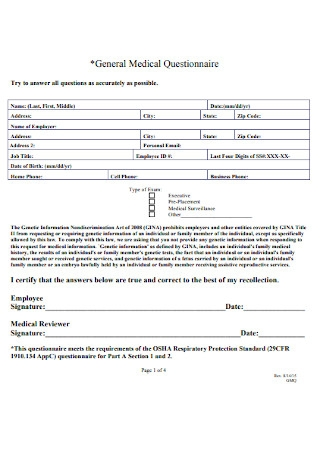 General Medical Questionnaire