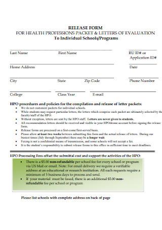 General Programs Release Form