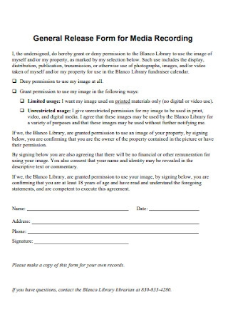 General Release Form for Media Recording