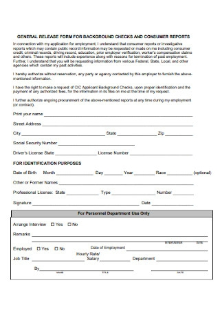 General Release Report Form