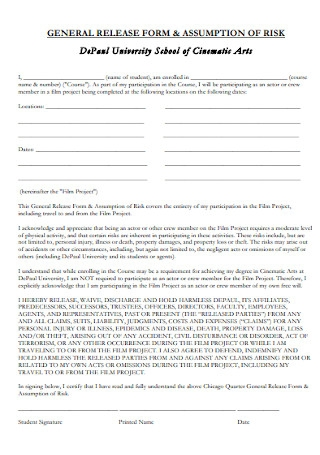 General School Release Form