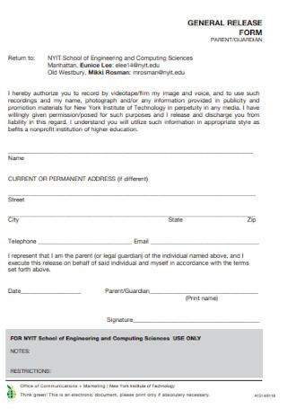 Genral Release Form Format