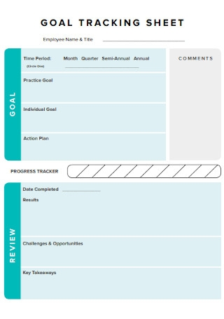 Goal Tracking Sheet Template