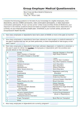 Group Employer Medical Questionnaire