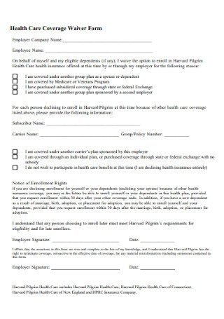 Health Care Coverage Waiver Form