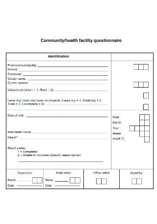 Health Facility Questionnaire