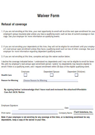 Health Waiver Form