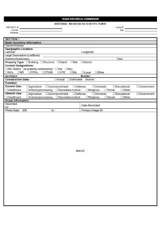 Historic Resorces Survey Form