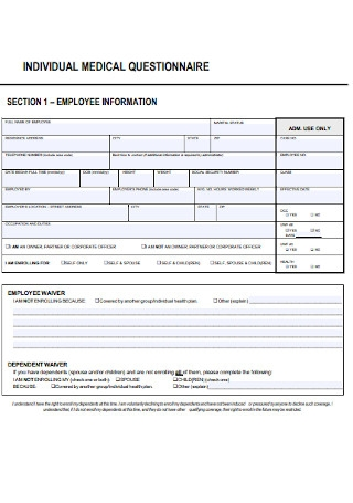 Individual Medical Questionnaire Template