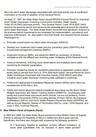 Industrial General Permit Fact Sheet