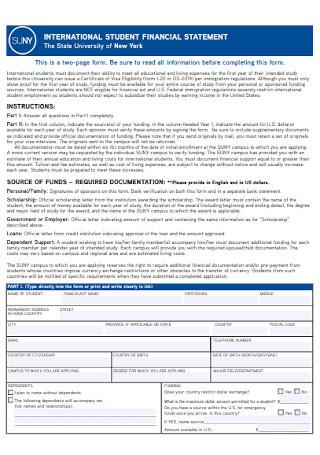 International Studnet Financial Statement