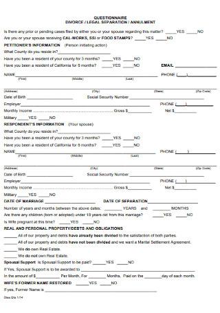 Legal Seperation Divorce Questionnaire
