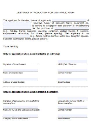 Letter of Visa Application Form