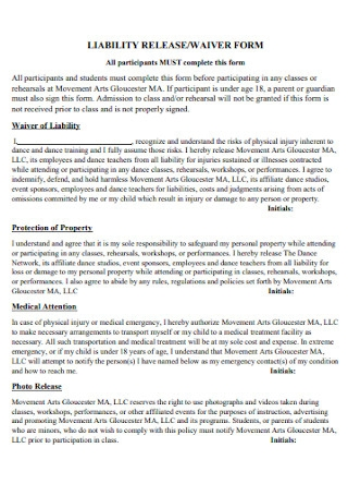 Liability Release and Waiver Form