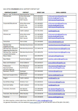 Local Support Contact List