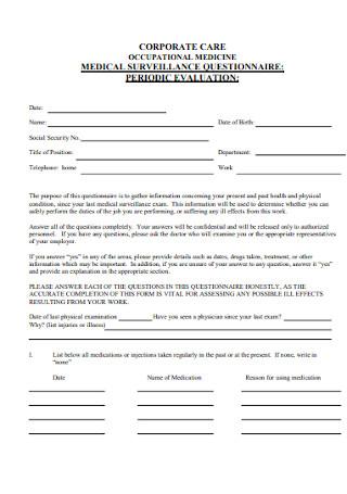 Medical Surveillance Questionnaire