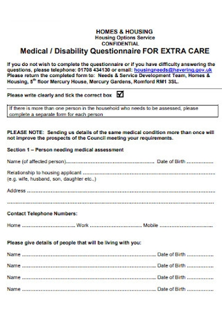 Medical and Disability Questionnaire