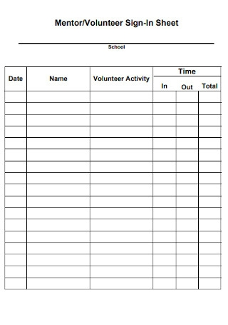 Mentor and Volunteer Sign In Sheet