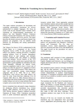 Methods for Translating Survey Questionnaires