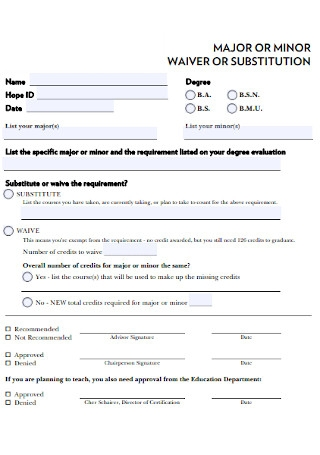 Minor Waiver Form