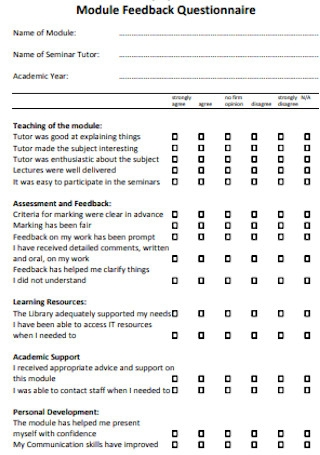 Module Feedback Questionnaire