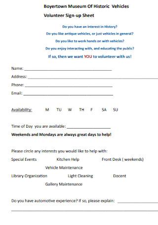 Museum Volunteer Sign up Sheet