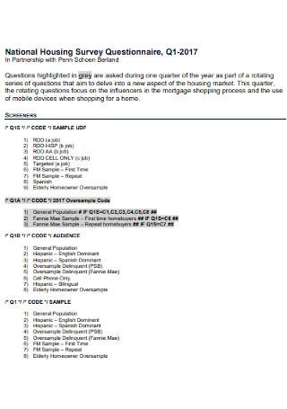 National Housing Survey Questionnaire