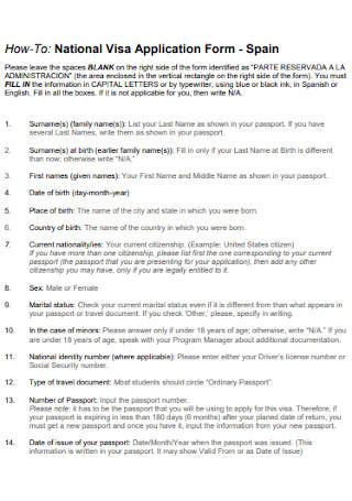 National Visa Application Form Template