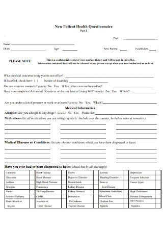 New Patient Health Questionnaire