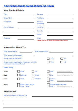 New Patient Health Questionnaire for Adults