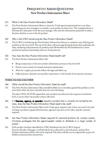 New Product Information Sheet