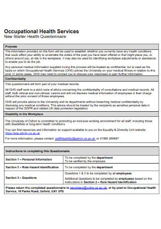 New Starter Health Questionnaire