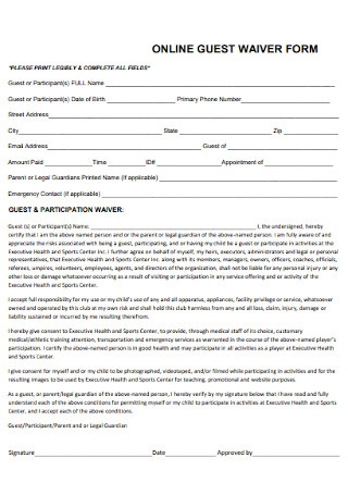 Online Guest Waiver Form