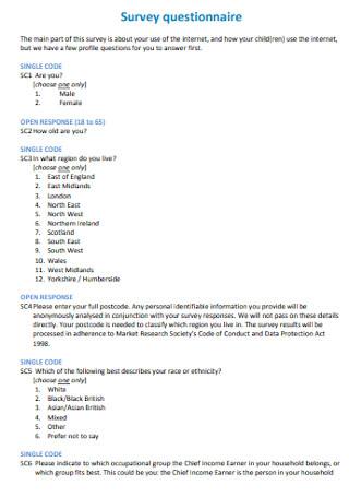 Parenting Survey Questionnaire