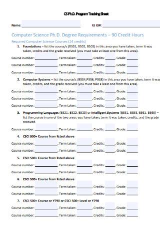Phd Program Tracking Sheet