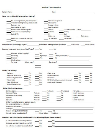 Physician Medical Questionnaire