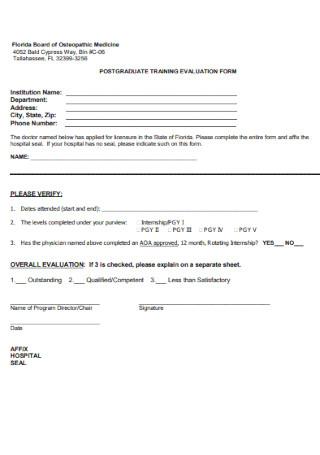 Postgraduate Training Evaluation Form