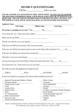 Printable Divorce Questionnaire